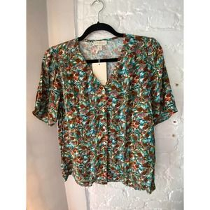 Anthropologie Button Down Floral Top